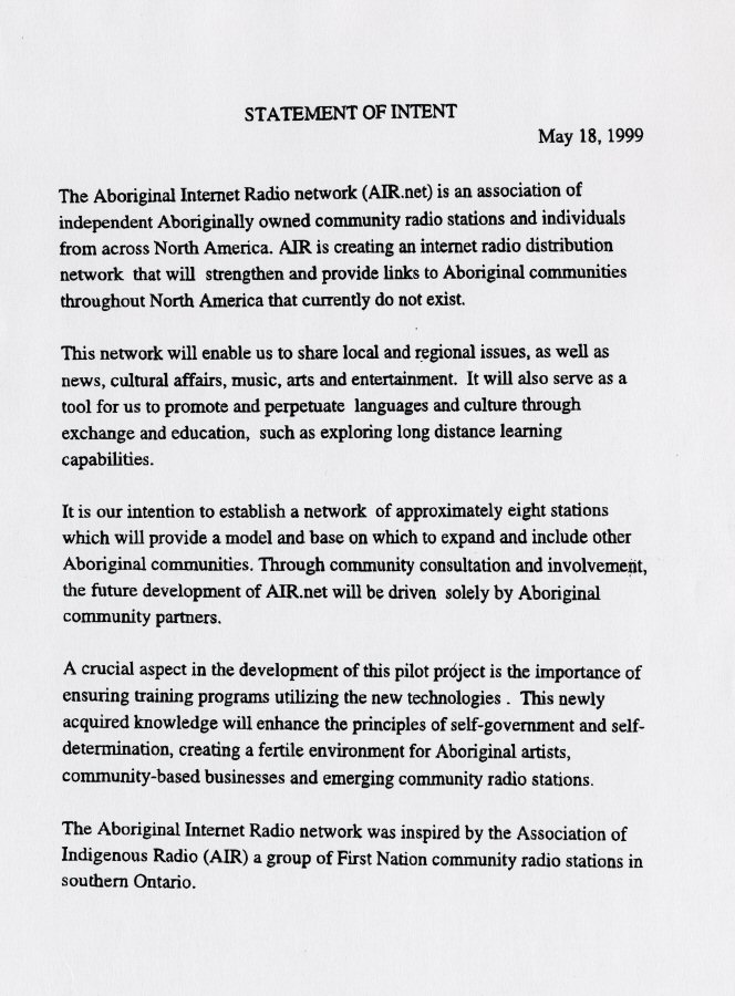 Aboriginal Internet Radio network, Statement of Intent, 1999