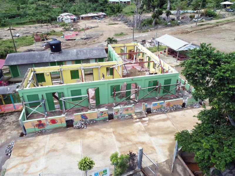 Soufriere Primary School during construction